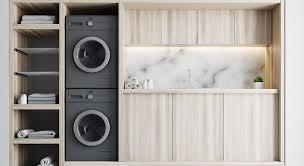 Un ensemble de mobiliers harmonieux et de l'espace au sol économisé ! Ikea Hack 12 Idees De Genie Pour Une Buanderie Fonctionnelle