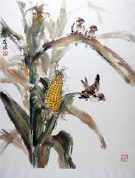 corn chinese painting lian quan zhen is a popular watercolor