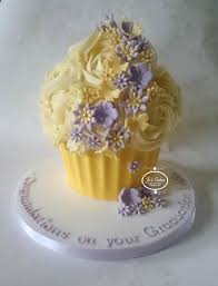 Yellow And Lilac Giant Cupcake For A Graduation White Rose Cake