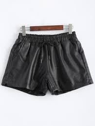 plus size pocket design faux leather shorts