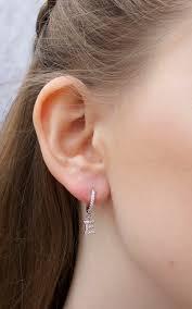 Huggie Hoop Earrings Size Chart Initial Letter E Huggie Hoop Earring By Epitome Jewellery