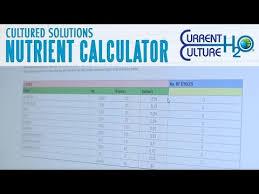 Cultured Solutions Feeding Chart Nutrient Calculators Current Culture H2o