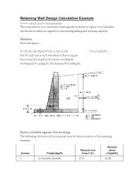 Gravity Retaining Wall Design Calculations Retaining Wall Design Calculation Docshare Tips