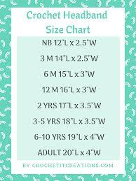 Headband Size Chart Km Ear Warmer Crochet Pattern Crochet It Creations