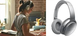 bose 35. woman using the bose quiet comfort 35 headphones and a shot of it by itself. o