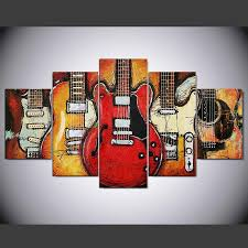online shop canvas paintings printed 5 pieces guitar abstract wall with guitar canvas wall art  on guitar canvas wall art red with wall art ideas guitar canvas wall art explore 7 of 20 photos