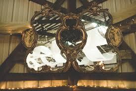 reception décor vintage gold mirror wood fairy lights alice in wonderland wedding pennsylvania