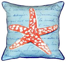Coral Starfish Extra Zippered Indoor Outdoor Pillow