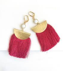 red tassel earrings chandelier earrings tassel dangle earrings statement earrings jewelry gold tassel earrings gift