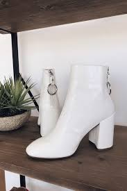 steve madden posed white patent leather ankle boots