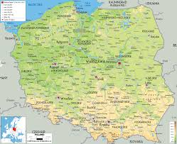physical map of poland  ezilon maps