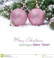 Pink Christmas Card Christmas Card With Pink Baubles Stock Photo Image Of 2014 Pink