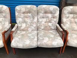 vintage wooden frame sofa set
