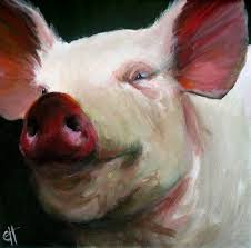or there is this pig happiest pig ever pig painting parker the pig