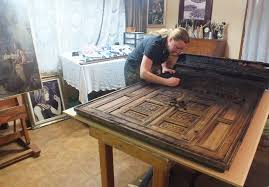 kate beginning restoration on a 200 year old moroccan door
