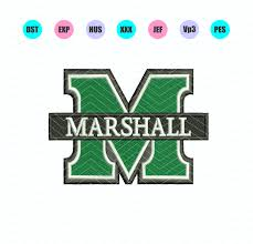 University Of South Carolina Embroidery Designs Marshall University Logo Machine Embroidery Design 3 Sizes Instant Download