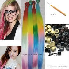 20ombre i tip hair extensions 4 tones snythetic loop diy grizzly rooster stripe loop ring hairpiece 120 beads 1 hook extension tape tape hair extensions