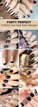 10 Party Perfect Black and Gold Nail Designs