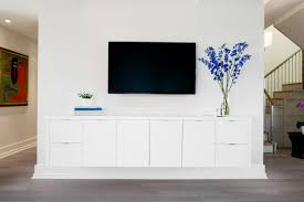 Best Floating Media Cabinets White And White Wall