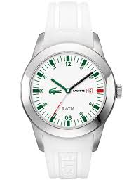 lacoste men s and women s watches 109 99 for lacoste men s watch white rubber band white and green face 2010627 175 list price