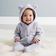 personalised bear fleece onesie new baby gifts