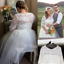 elegant long half sleeves lace wedding dresses plus size