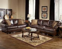 Living Room With Brown Leather Couch Traditional Front Room Furniture Interior Design With Dark Brown