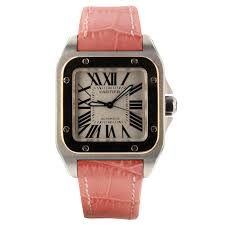 details about cartier santos 100 steel rose gold automatic 33 mm pink leather watch w20107x7