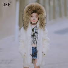 2017 winter new children real rabbit fur coat kids girls warm solid natural rac fur collar