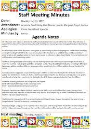 Meeting Agenda Minutes Template Staff Meeting Aussie Childcare Network