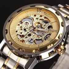online get cheap skeleton watches men aliexpress com alibaba group winner golden watches men skeleton mechanical watch stainless steel top brands luxury man watch montre homme