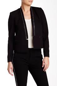 image of rebecca taylor faux leather trim tuxedo blazer