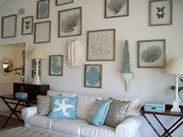 interior: Breathtaking Sea Ornament On Nice Frame Fit To Beach Themed  Living Room With Simple
