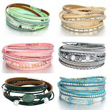17KM Multiple Layers Beads Crystal Leather Bracelets For Woman ...