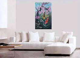 Original Abstract Paintings on Canvas Wall Art Decor Koi Fish Painting
