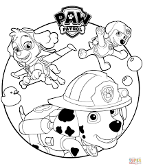 Skye Marshall And Rocky Coloring Page Everest Plays With Rubble Paw