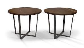 round cafe tables in walnut