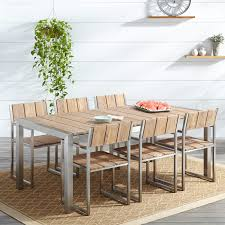 outdoor wood dining table set. macon 7-piece rectangular teak outdoor dining table set - whitewash wood