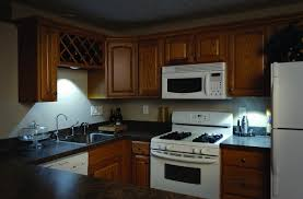 impressive natural brown wood kitchen cabinet design with nice seagull under cabinet lighting combined with dark