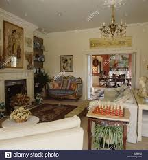 vintage country living rooms. Chess Set On Side Table In An Eighties Country Living Room With Vintage Furniture Rooms N
