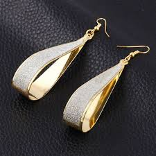 18k gold plated filigree teardrop back drop dangle earrings chandelier earrings