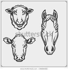 Cow Template Silhouettes Farm Animals Sheep Horse Cow Stock Vector