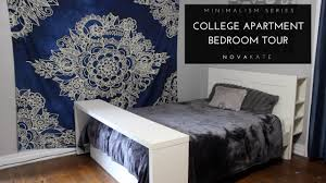 college apartment bedroom. minimalist room tour | vlog: my minimal college apartment bedroom minimalism series