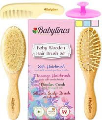 babylinos 4 piece wooden baby hair brush set with b and ultra soft silicone scalp shoo
