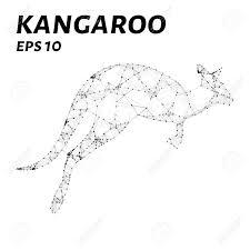 kangaroo consists of points lines and triangles the polygon kangaroo logo icon vector