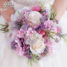 Aliexpress Butterfly New -in Brooch Flower com On Bouquets Purple Pink Hydrangea Artificial Wedding Weddings Bridal amp; From Bouquet Alibaba All Peony Group Rose Beautiful Handmade Events