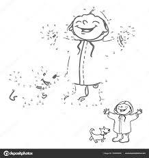 Koppel De Puntjes Getallen Spel Voor Kinderen Gelukkig Meisje En