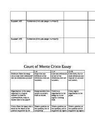 of monte cristo essay prompts graphic organizer and rubric count of monte cristo essay prompts graphic organizer and rubric
