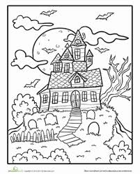 Small Picture Spooky Mansion Coloring Page Haunted houses Worksheets and Holidays