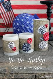 Burlap Crafts 4th Of July Crafts Yo Yo Burlap Candle Wraps
